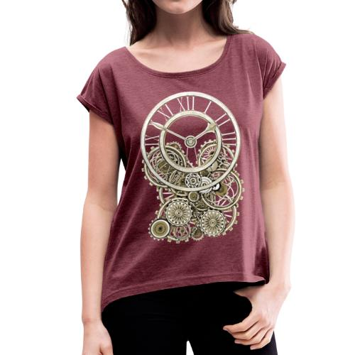 Elegant Vintage Steampunk Style Clock Women's Rolled Sleeves T-Shirt - Women's T-Shirt with rolled up sleeves