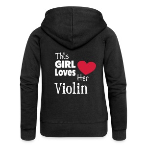This Girl Loves Her Violin - Women's Premium Hooded Jacket