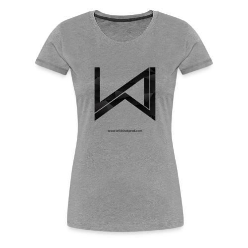 T-Shirt Wild Shot Production Femme Gris Clair Logo Noir - T-shirt Premium Femme