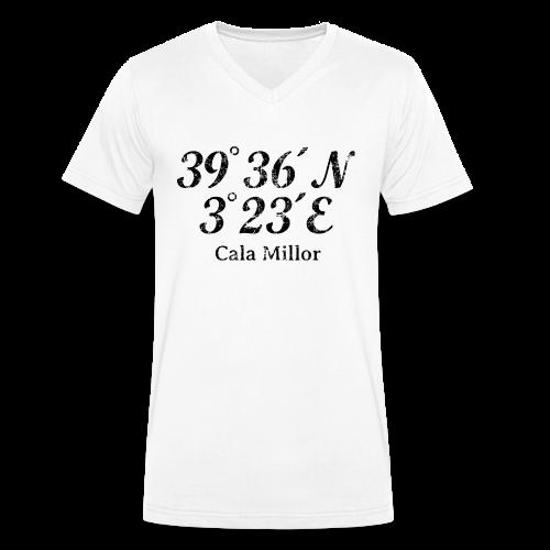 Cala Millor Koordinaten Vintage Schwarz V-Neck T-Shirt - Männer Bio-T-Shirt mit V-Ausschnitt von Stanley & Stella