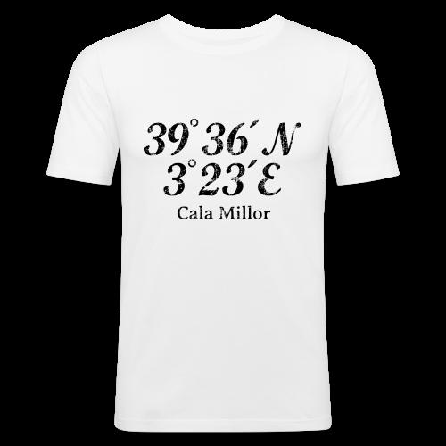 Cala Millor Koordinaten Vintage Schwarz Slim Fit T-Shirt - Männer Slim Fit T-Shirt