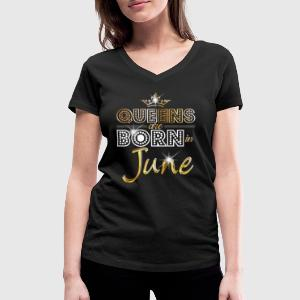 June - Queen - Birthday - 2 T-shirts - Dame-T-shirt med V-udskæring