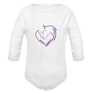 Heart, ( Print: Digital Violet) - Baby Bio-Langarm-Body