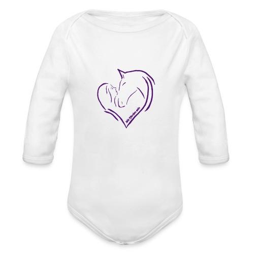 Heart, ( Print: Digital Violet) - Baby Bio-Langarm-Body