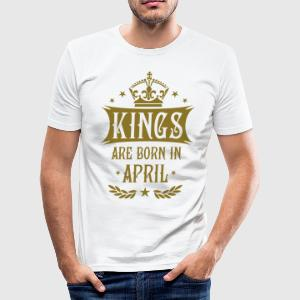 Kings are born in April Sterne Krone King T-Shirt - Männer Slim Fit T-Shirt