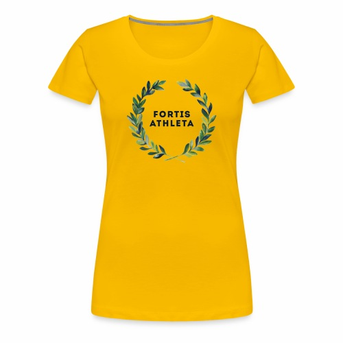 Damen Premiumshirt gelb mit logo Fortis Athleta - Frauen Premium T-Shirt