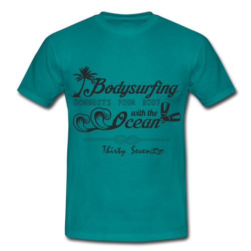 Bodysurfing Typography Mintgreen - Men's T-Shirt
