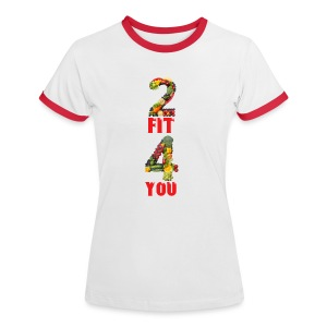 Vegan 2 FIT 4 YOU Fitness Power - Frauen Kontrast-T-Shirt