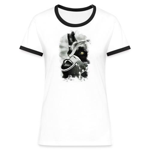 T-Shirt   Hundekopf - Frauen Kontrast-T-Shirt