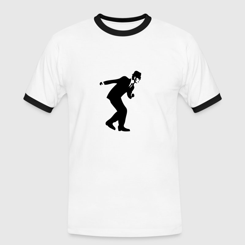 White/black Rude Boy Men's Tees - Men's Ringer Shirt