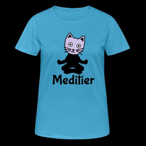 Meditieren Yoga Katze T-Shirts - Frauen T-Shirt atmungsaktiv