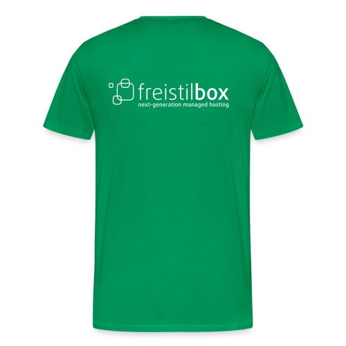 Green t-shirt with freistilbox logo on the back - Men's Premium T-Shirt