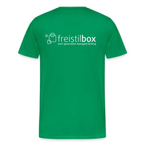 Green t-shirt with freistilbox logo on the back - Men's Premium T-Shirt