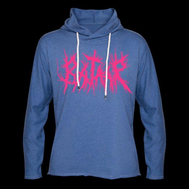 """VICIOUS PINK"" Neon Pink on Heather Blue Hoodie"
