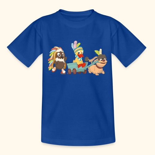 Kinder T-Shirt Indianerfreunde Pittiplatsch, Schnatterinchen & Moppi - Kinder T-Shirt