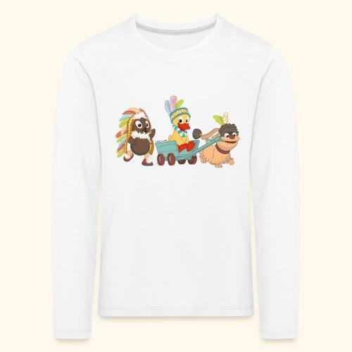 Kinder Premium Langarmshirt Indianerfreunde Pittiplatsch, Schnatterinchen & Moppi - Kinder Premium Langarmshirt