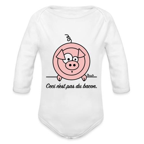 Body ml Bébé Cochon, Ceci n'est pas du Bacon - Body Bébé bio manches longues