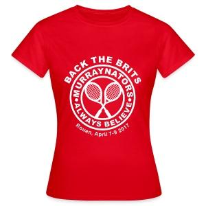 Murraynators - Davis Cup Rouen. Womens Red T-shirt. - Women's T-Shirt
