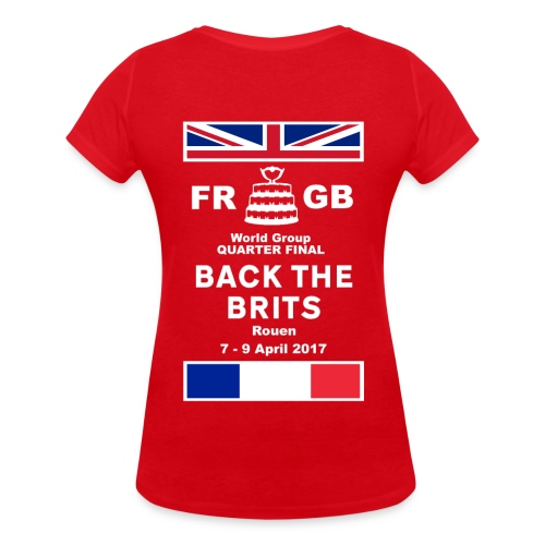 Murraynators - Davis Cup Rouen. Womens Red  V-Neck T-Shirt.. - Women's Organic V-Neck T-Shirt by Stanley & Stella