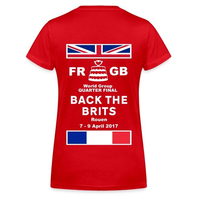 Murraynators - Davis Cup Rouen. Womens Red  V-Neck T-Shirt..