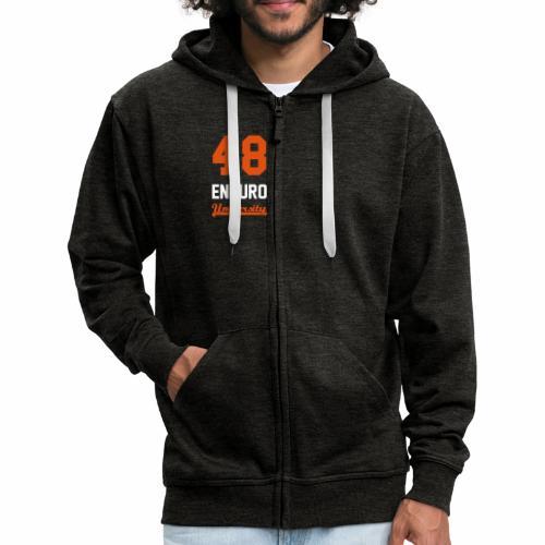 Sweat à capuche zippé 48 enduro University Grey Orange Homme - Veste à capuche Premium Homme