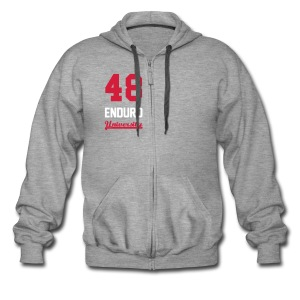 Sweat à capuche zippé 48 enduro University Grey Red Homme - Veste à capuche Premium Homme