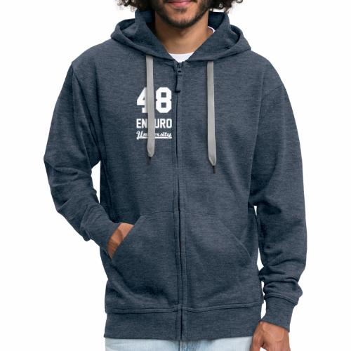 Sweat à capuche zippé 48 enduro University Jean White Homme - Veste à capuche Premium Homme