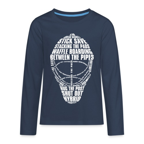 Hockey Goalie Mask Typography Teenager's Long Sleeve T-Shirt - Teenagers' Premium Longsleeve Shirt