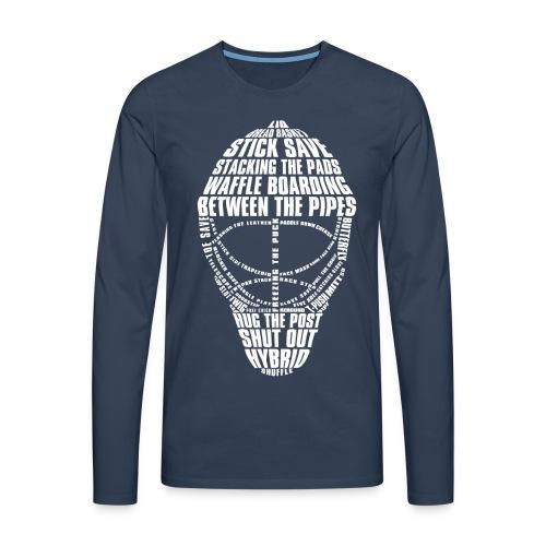 Hockey Goalie Mask Typography Men's Long Sleeve T-Shirt - Men's Premium Longsleeve Shirt