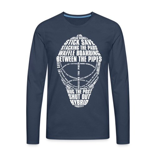 Hockey Goalie Mask Typography Men's Long Sleeve T-Shirt - Men's Premium Longsleeve Shirt