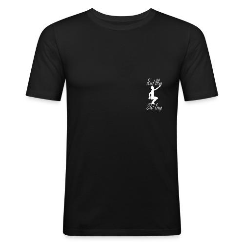 Real Men Slut Drop White Silhouette Slim Tee - Men's Slim Fit T-Shirt