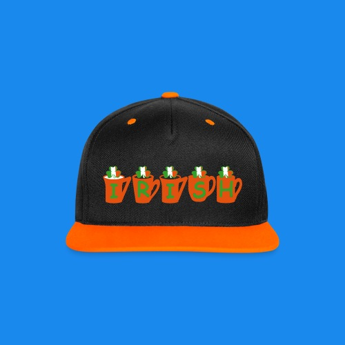 ♥ټ☘Drink Luck-Irish Shamrock Tea Snapback Cap☘ټ♥ - Contrast Snapback Cap