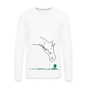 Front Pferdchen, Flower, Back Coeur, Women Longsleeve XXL ( Print- Black and Green Glitter) - Männer Premium Langarmshirt