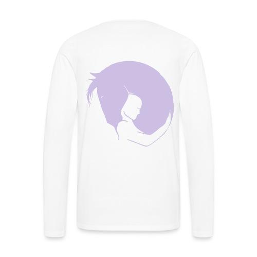 Front LOGO Schriftzug, Back Embrace Men oder Women Longsleeve ( Print- Lavendel) - Männer Premium Langarmshirt