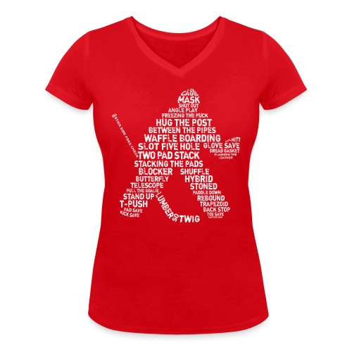 Hockey Goalie Typography Women's V-Neck T-Shirt - Women's Organic V-Neck T-Shirt by Stanley & Stella