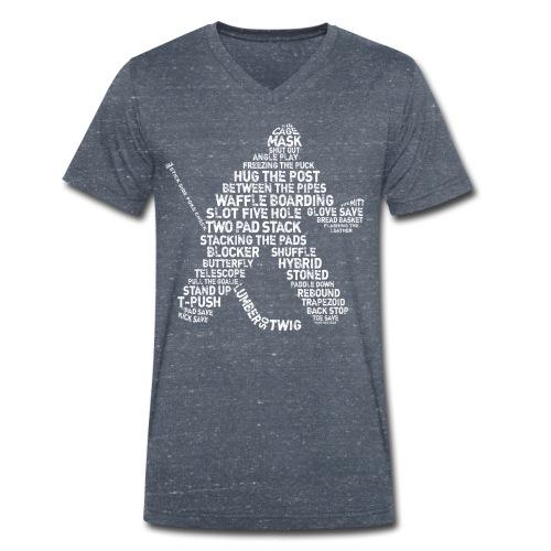 Hockey Goalie Typography Men's V-Neck T-Shirt - Men's Organic V-Neck T-Shirt by Stanley & Stella