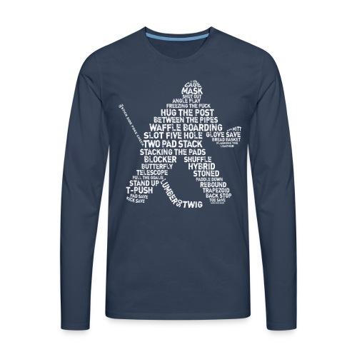 Hockey Goalie Typography Men's Long Sleeve T-Shirt - Men's Premium Longsleeve Shirt