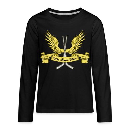 Who Saves Wins Hockey Goalie Teenager's Long Sleeve T-Shirt - Teenagers' Premium Longsleeve Shirt