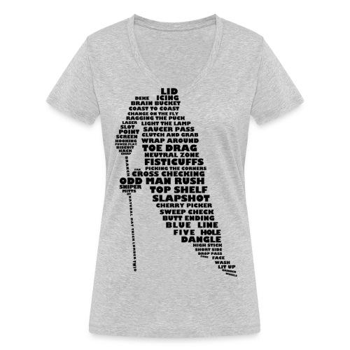 Hockey Player Typography Women's V-Neck T-Shirt - Women's Organic V-Neck T-Shirt by Stanley & Stella