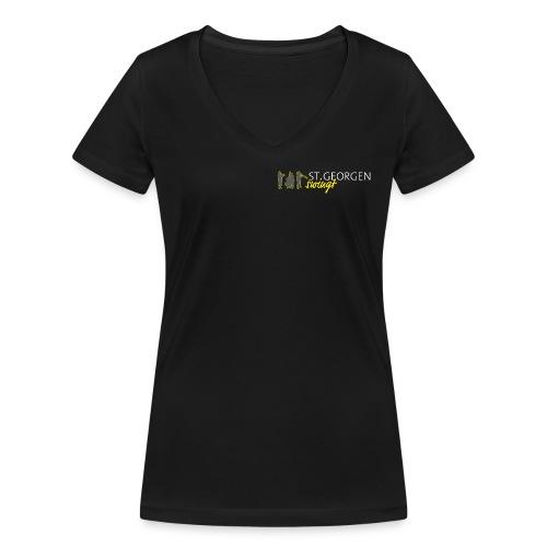 V-T Shirt | Kleines Logo - Frauen Bio-T-Shirt mit V-Ausschnitt von Stanley & Stella
