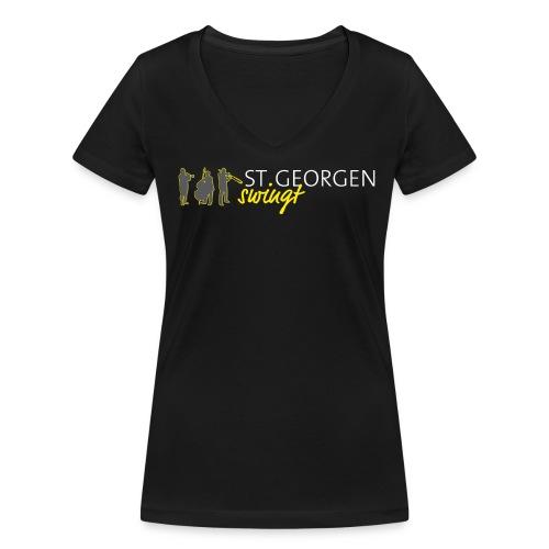 V-T Shirt | Großes Logo - Frauen Bio-T-Shirt mit V-Ausschnitt von Stanley & Stella