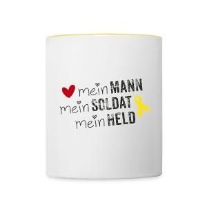 Mein Mann, mein Soldat, mein Held  - Tasse zweifarbig
