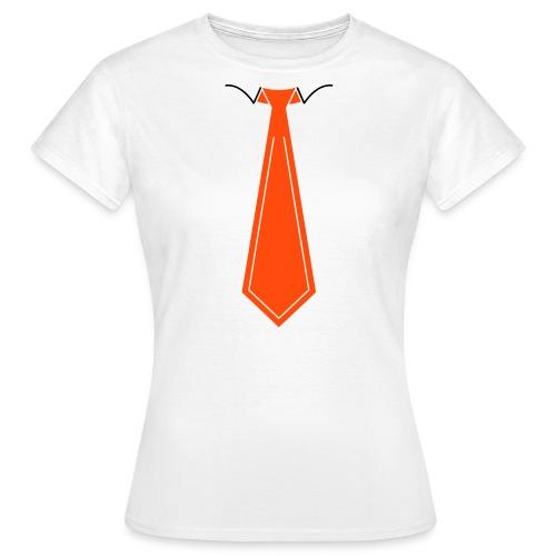 Oranje Stropdas B&C Shirt Dames (Wit) - Vrouwen T-shirt