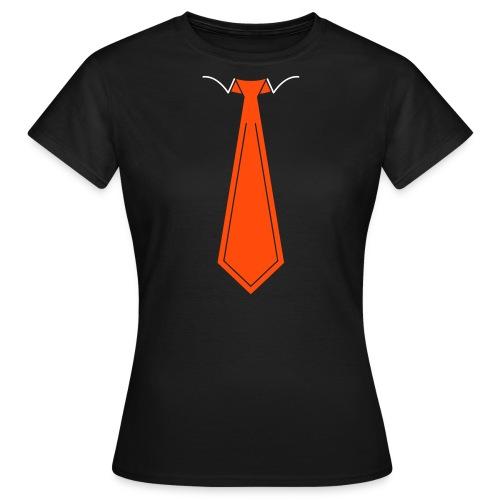 Oranje Stropdas B&C Shirt Dames (Zwart) - Vrouwen T-shirt