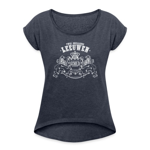 Brullende leeuwen vrouwen opgerolde mouwen - Vrouwen T-shirt met opgerolde mouwen