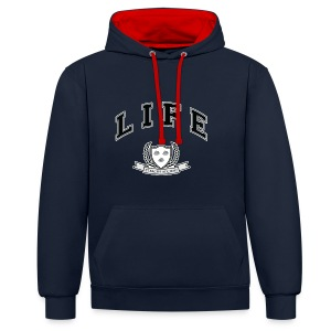 Life University - Shit Happens - Athletics Logo - Contrast Colour Hoodie
