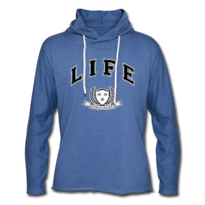 Life University - Shit Happens - Athletics Logo - Light Unisex Sweatshirt Hoodie