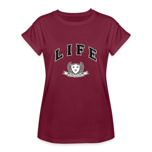Life University - Shit Happens - Athletics Logo - Women's Oversize T-Shirt