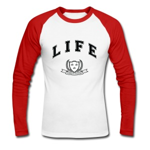 Life University - Shit Happens - Athletics Logo - Men's Long Sleeve Baseball T-Shirt