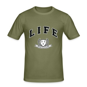 Life University - Shit Happens - Athletics Logo - Men's Slim Fit T-Shirt